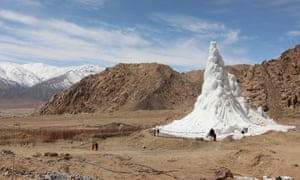 An ice stupa created by the innovative engineer Sonam Wangchuk in Ladakh, India.