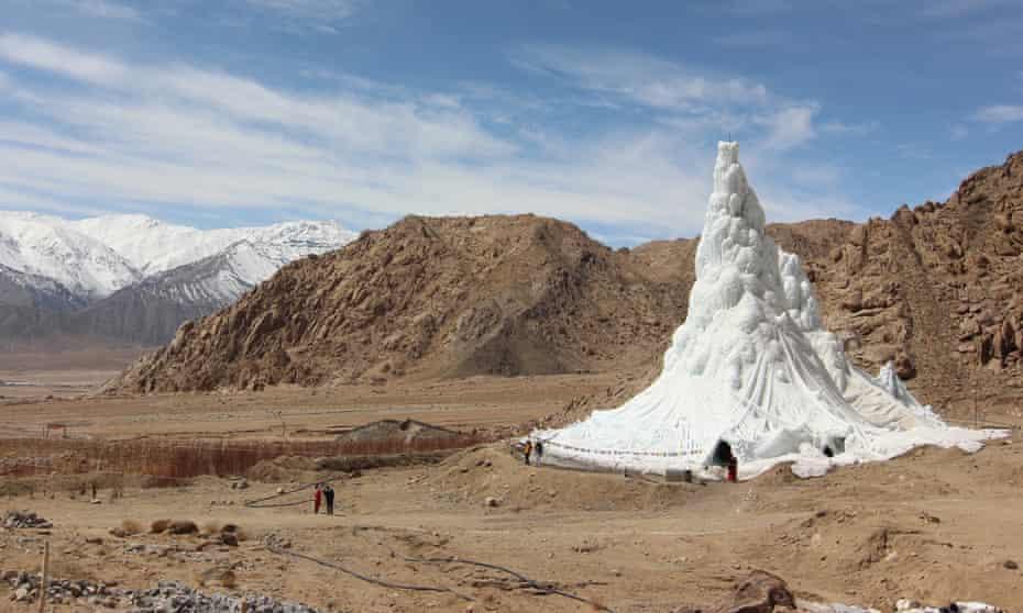 An ice stupa created by the innovative engineer Sonam Wangchuk in Ladakh, India.