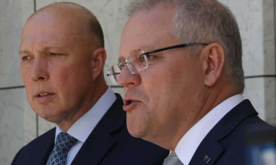 Peter Dutton and Scott Morrison at a press conference in the PM's courtyard of Parliament House
