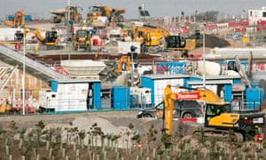 Construction equipment on the site of Hinkley Point C.