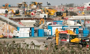 Construction vehicles and plant machinery at the site of the Hinkley Point C nuclear power station being built near Bridgwater in Somerset.