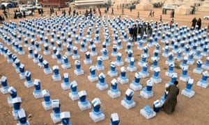 Boxes of humanitarian aid to be distributed at Wafaa refugee camp in Iraq.