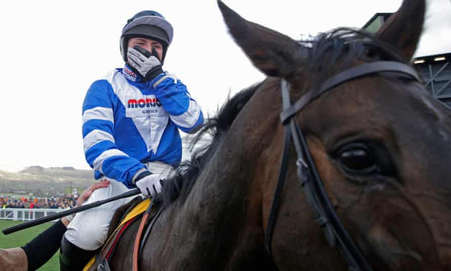 Bryony Frost celebrates on Frodon after winning the Ryanair Chase at the Cheltenham Festival.