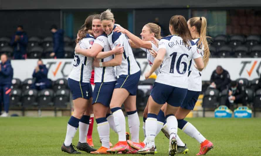 Spurs players celebrate during their WSL match against Bristol City