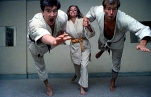 Honor Blackman practising judo on set of The Avengers