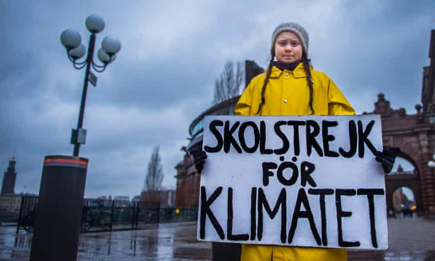 Greta Thunberg, 15, holds a placard reading 'School strike for the climate', during a protest outside the Swedish parliament in Stockholm last November.
