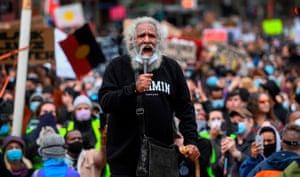 An aboriginal elder addresses the crowd in Melbourne.