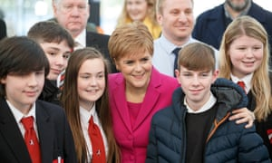 SNP leader Nicola Sturgeon meets young people after making a statement in Edinburgh
