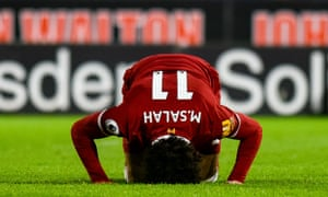 Mo Salah celebrates one of his 36 goals for Liverpool this season in his inimitable fashion.