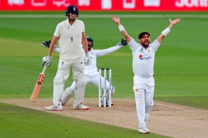 Yasir successfully appeals for the wicket of Sibley.