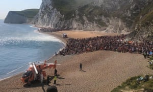 Air ambulances on the beach at Durdle Door on Saturday
