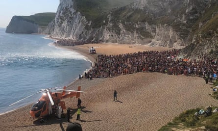 Air ambulances landed on the sand at Durdle Door, Dorset, on Saturday afternoon and the beach was evacuated.