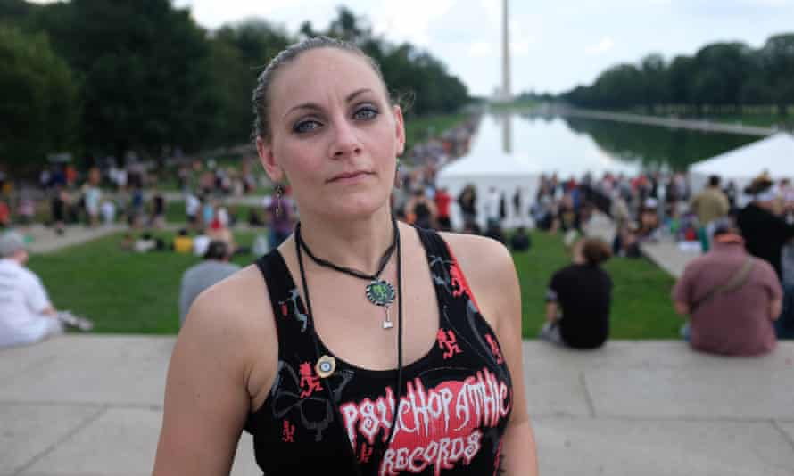 Jessica Bonometti at the march. She says she was fired from her job as a probation officer as a result of her support for Insane Clown Posse.