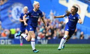 Beth England (left) celebrates with Hannah Blundell after scoring what proved to be the winner in the WSL derby with Tottenham at Stamford Bridge