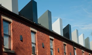 A general view of the Chimney Pots Park regenerated back to back terraced houses on July 4, 2008 in Salford, Greater Manchester, England.