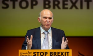 Vince Cable speaks at the launch of the Lib Dems' European elections manifesto in Shoreditch, east London.