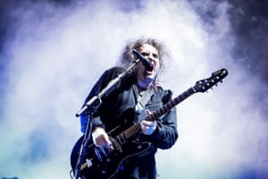 Robert Smith playing live in Santiago, Chile, in 2013.