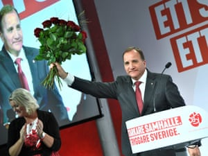 Prime minister and party leader of the Social democrat party Stefan Lofven addresses supporters at an election night party