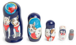 A set of five handmade and hand-painted Matryoshka wooden nesting dolls.