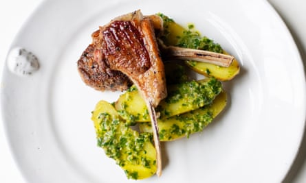 Dressing for spring weather: lamb cutlets, boiled potatoes, salsa verde.