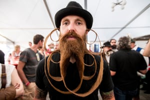 A contestant of the World Beard And Mustache Championships poses for a picture during the Championships 2015