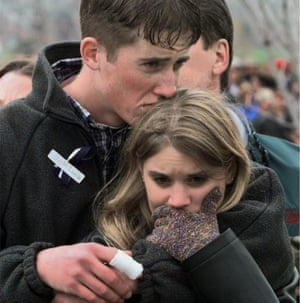 Austin Eubanks with his girlfriend during a community wide memorial service in Littleton, Colorado, on 25 April 1999, for the victims of the shooting rampage at Columbine High School.