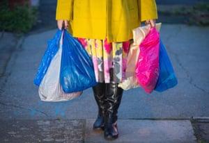 Plastic shopping bags.