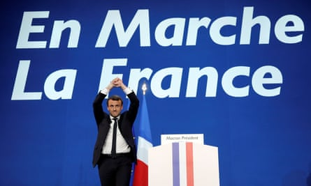 Emmanuel Macron celebrates after partial results in the first round of 2017 French presidential election.