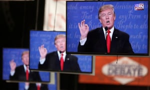 Republican U.S. presidential nominee Donald Trump is shown on TV monitors in the media filing room during the last 2016 U.S. presidential debate in Las VegasRepublican U.S. presidential nominee Donald Trump is shown on TV monitors in the media filing room on the campus of University of Nevada, Las Vegas, during the last 2016 U.S. presidential debate in Las Vegas, U.S., October 19, 2016. REUTERS/Jim Urquhart TPX IMAGES OF THE DAY