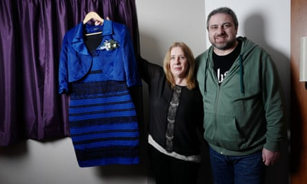 'I'm not a public person' ... Cecilia Bleasdale, beside her partner Paul Jinks, holds the dress that divided the internet