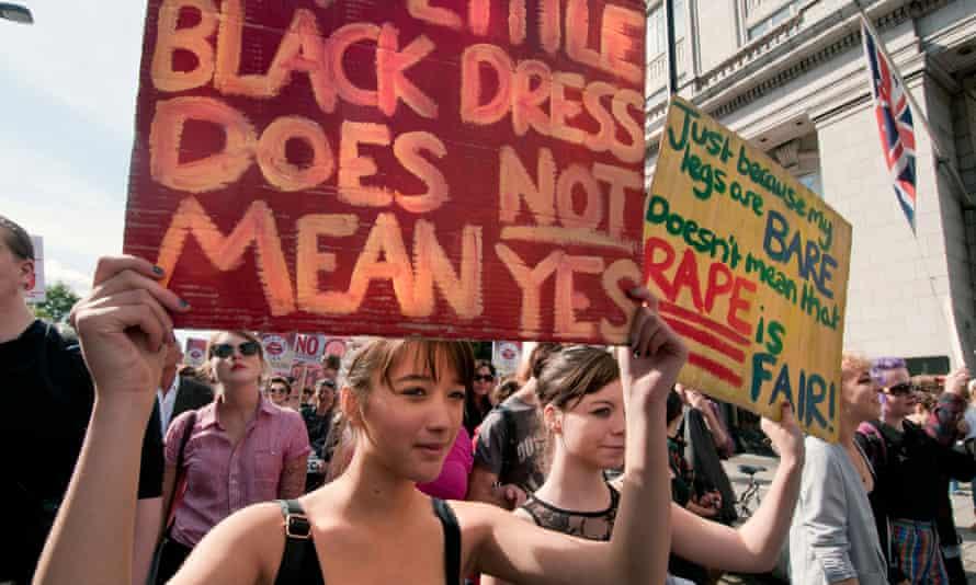 A protest in London demanding women should not be blamed for rape