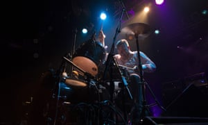 Propulsive percussion ... John Stanier performs with Battles at London's Electric Ballroom.
