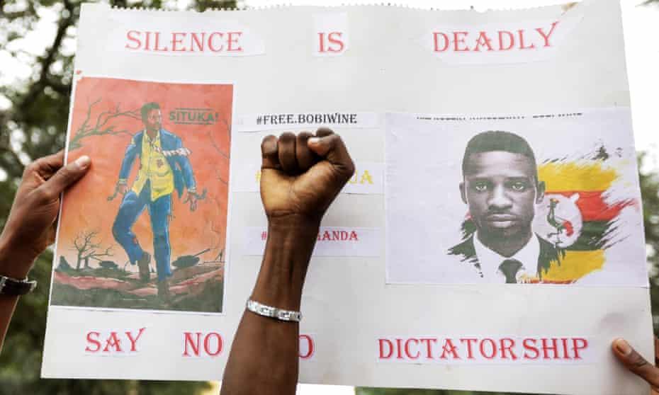 Ugandans living in Kenya protest at Bobi Wine's detention