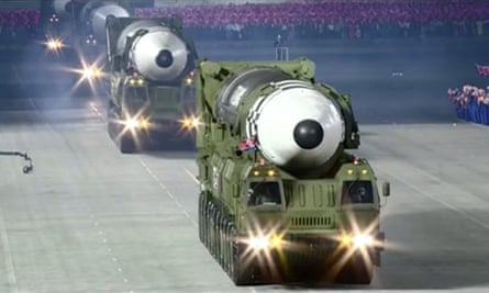 A possible new solid-fuel missile goes on parade on Saturday at the Kim Il Sung Square in Pyongyang, North Korea.