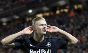 Erling Braut Haaland mocks the Anfield silence after bring the scores level at 3-3.
