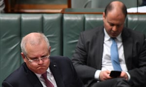 Prime Minister Scott Morrison and Treasurer Josh Frydenberg during Question Time in the House of Representatives at Parliament House, on June 18, 2020 in Canberra, Australia.
