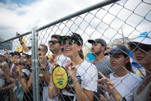 Fans watch during the Formula E New York City ePrix