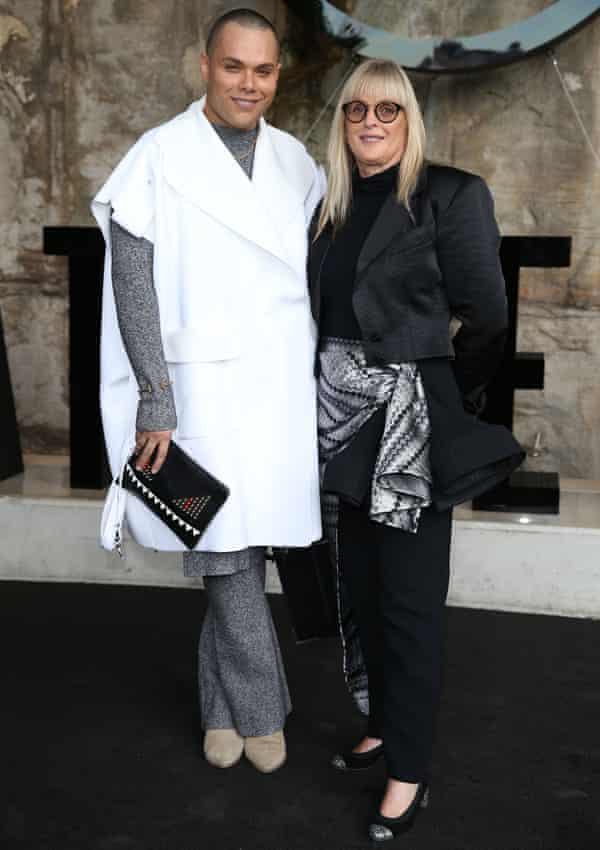 Debbie Kilroy with her son Joshua at Australian fashion week in Sydney.