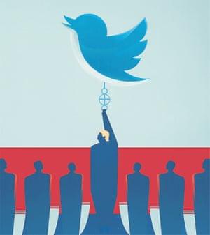 Illustration by Matt Murphy of Donald Trump holding up a giant Twitter logo.