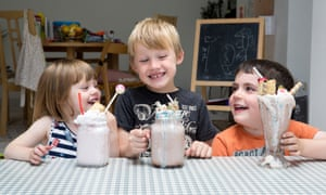 Left to right, Emmy, Oscar and Wyn survey their creations.