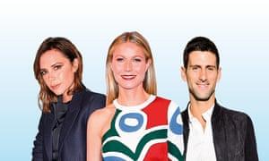 Victoria Beckham, Gwyneth Paltrow and Novak Djokovic