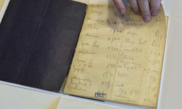 Franz Kafka's Hebrew vocabulary notebook at Israel's national library in Jerusalem.