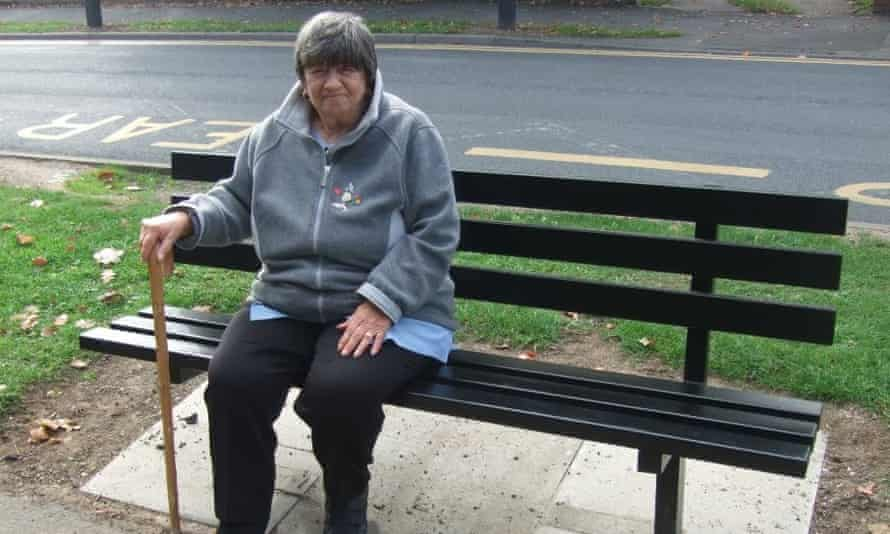 Barbara Laking sitting on a bench in Doncaster