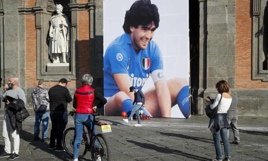 An image commemorating Diego Maradona in Naples, Italy, November 2020
