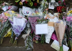 Floral tributes outside Batley town hall