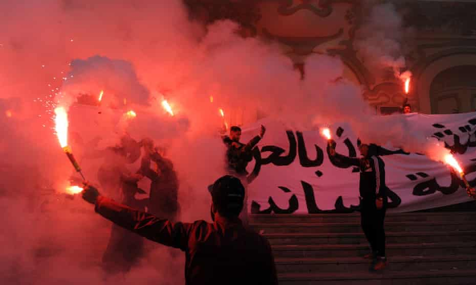 Tunisian protesters during the Arab spring.