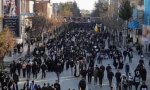 Iranian mourners at Qassem Suleimani's burial