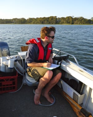 New South Wales Department of Planning, Industry and Environment officer collecting data at Wollumboola Lake near Nowra