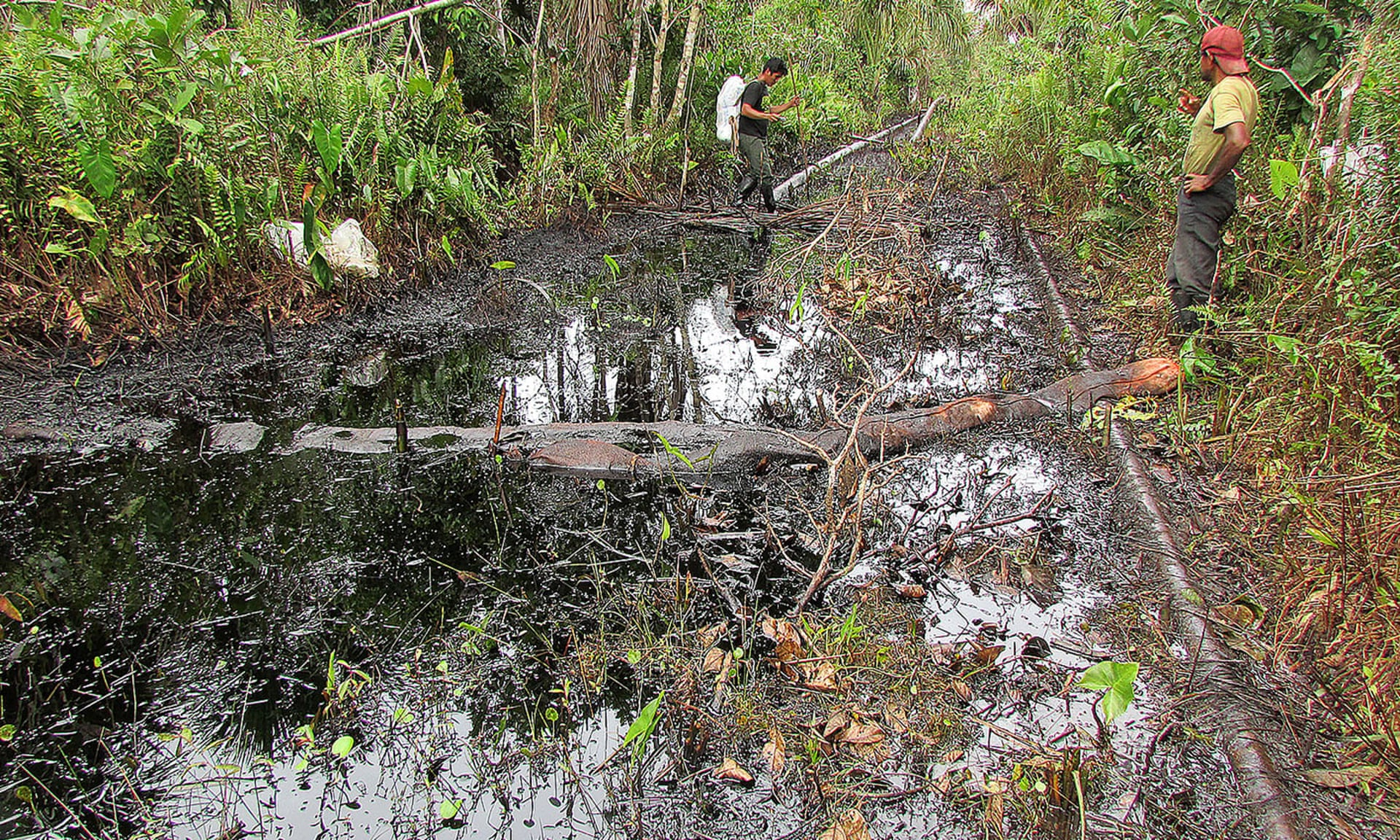 An oil spill in Lot 8, run by Pluspetrol, in 2013. Photograph: ACODECOSPAT