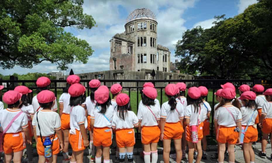 Japanese schoolchildren visit the park.
